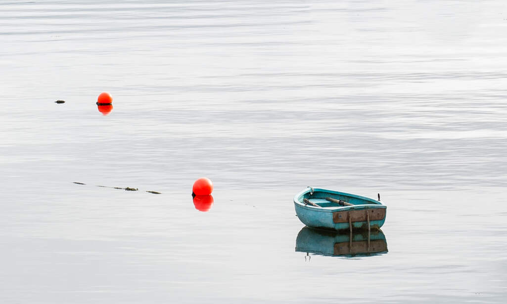 Bosville website, brand photography — a small blue boat on calm water.