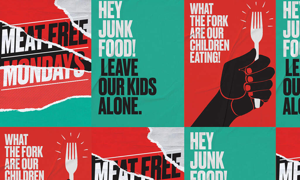 Fly posters with slogans for Jamie Oliver's Food Revolution campaign.