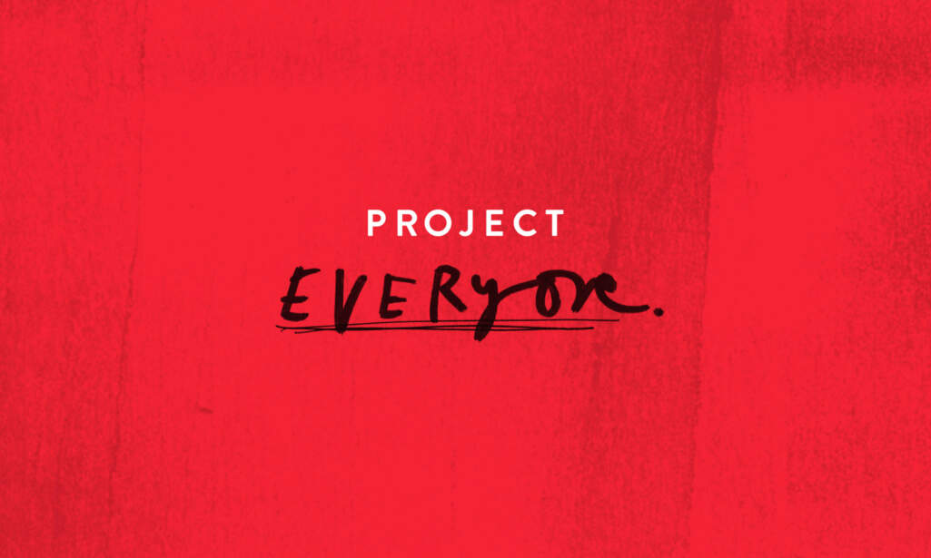 Project Everyone logo on a red background.