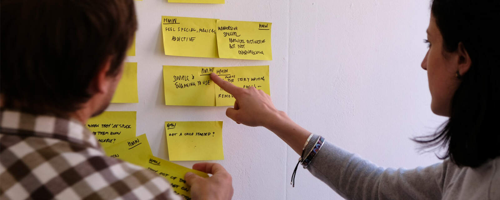 Sticking notes to the wall during a pathfinding workshop for Fabled kids' story telling platform.