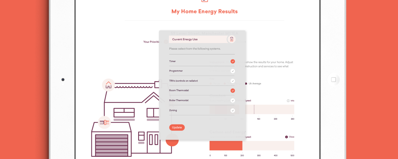 Making adjustments to setting on an iPad, using the My Home Energy Planner online tool.