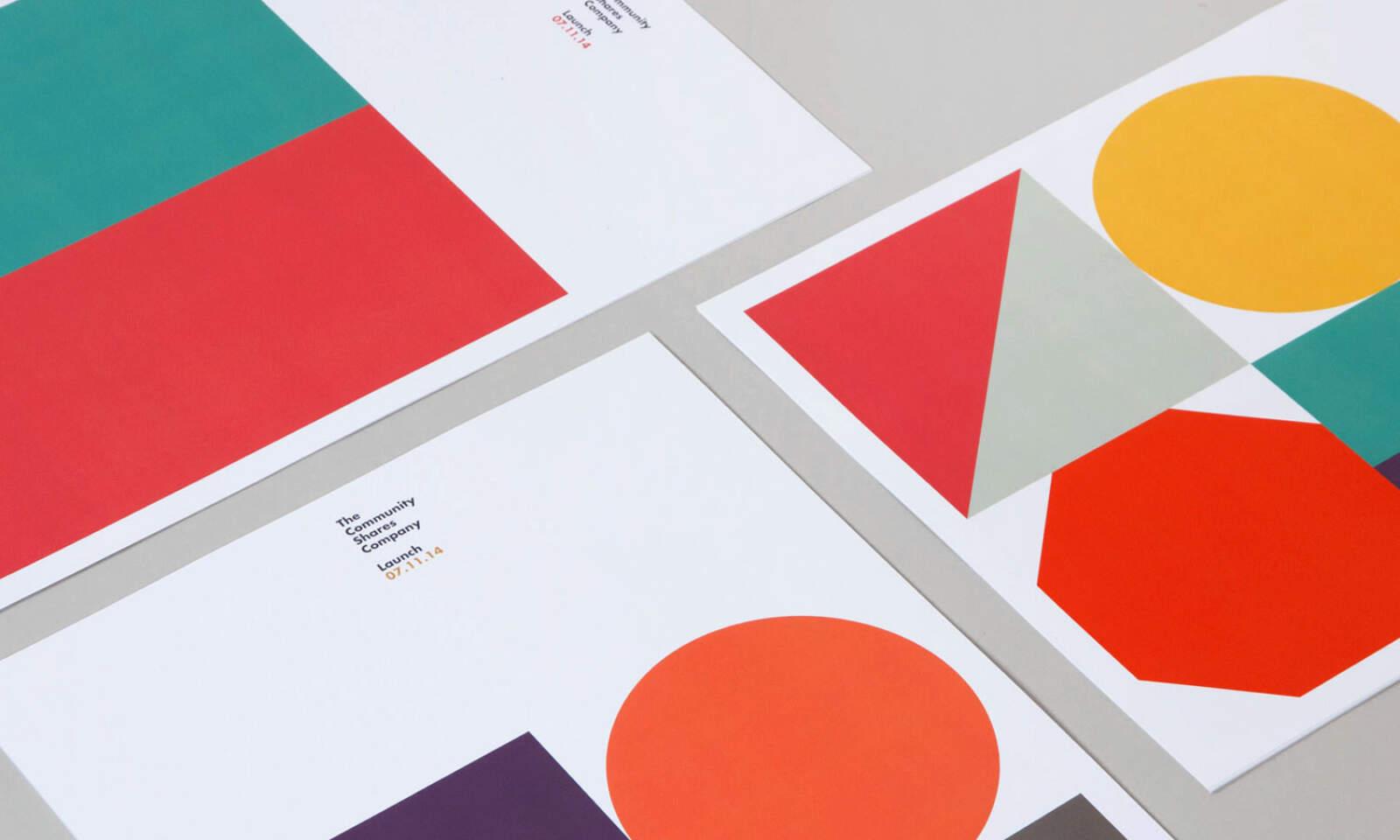 Community Shares geometric branding system, used across printed stationery.