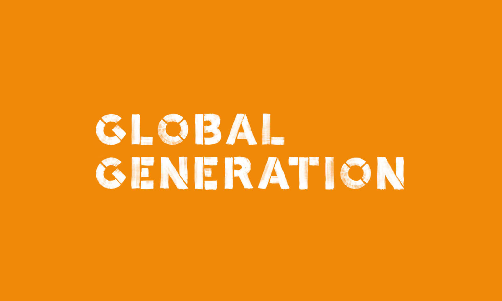 Global Generation logotype, white on orange.