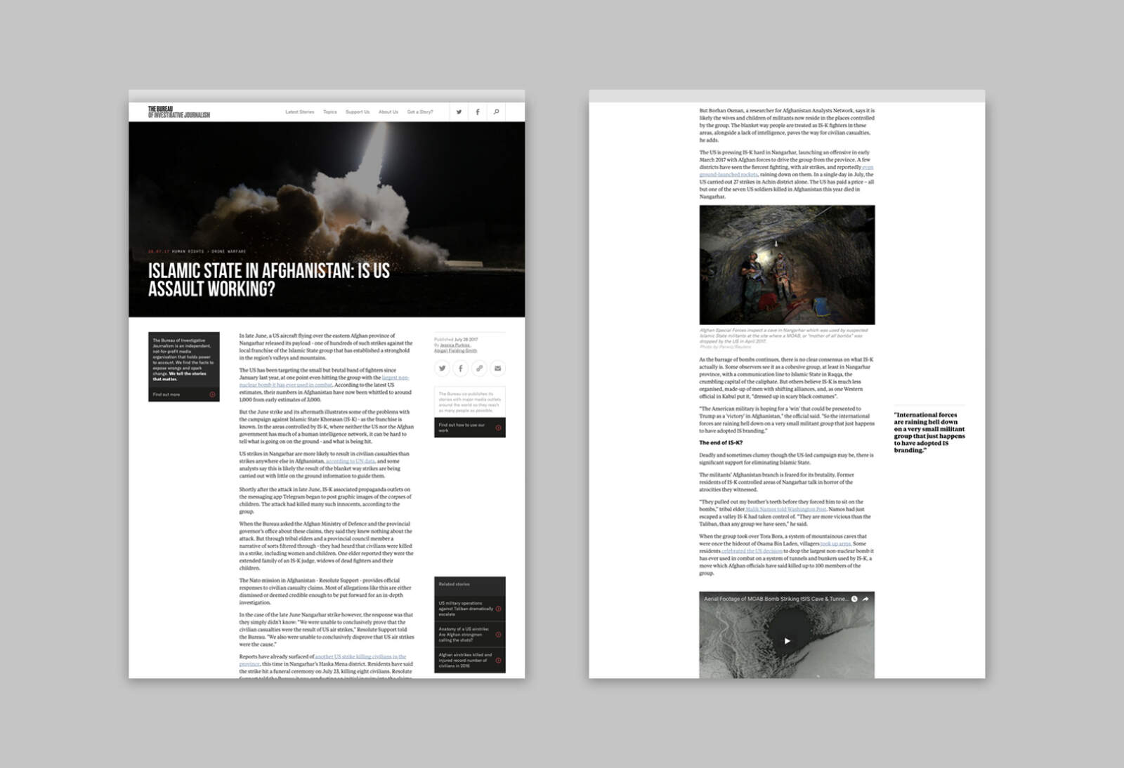 A story page from The Bureau of Investigative Journalism website, shown in a desktop browser.