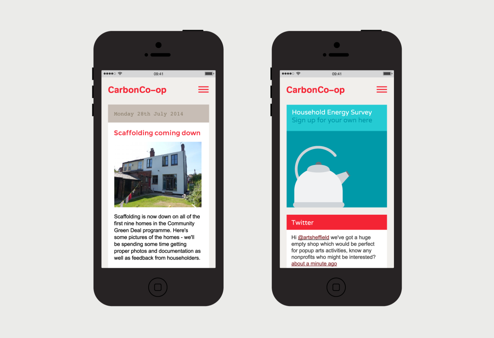 The Carbon Coop website shown on two iPhone screens.