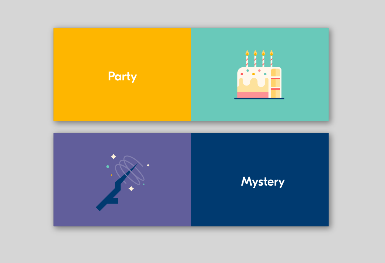 "Fabled story starter ""cards"" used in the digital product's user interface."