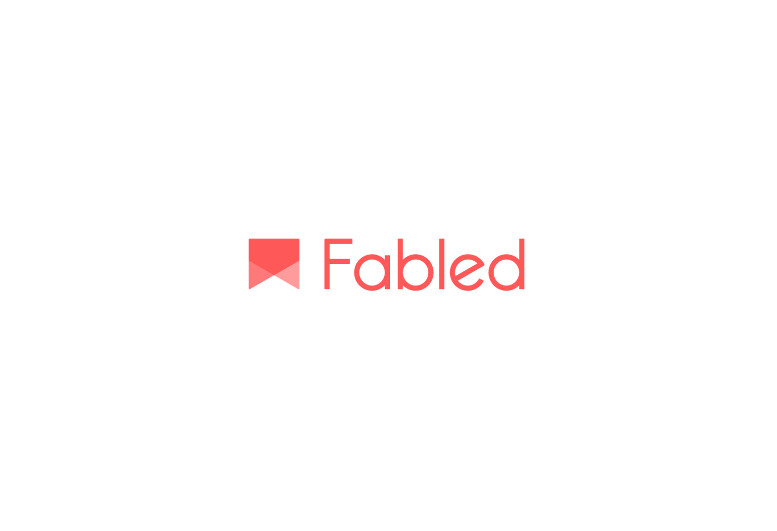 The Fabled logo uses a simple shape hinting at the forms found in a bookmark — shown here red on white.