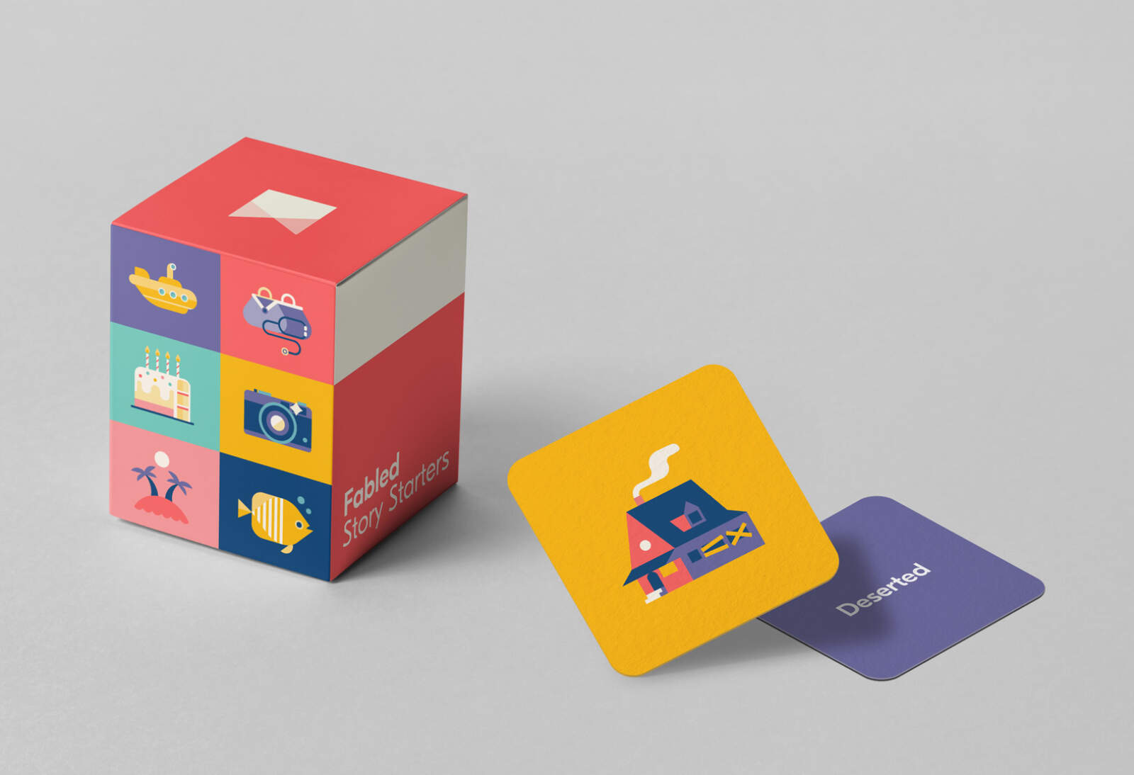 Physical story starter cards combining the Fabled branding with illustrations for inspiration.