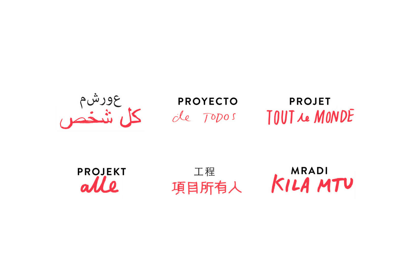 The Project Everyone logo in various languages.