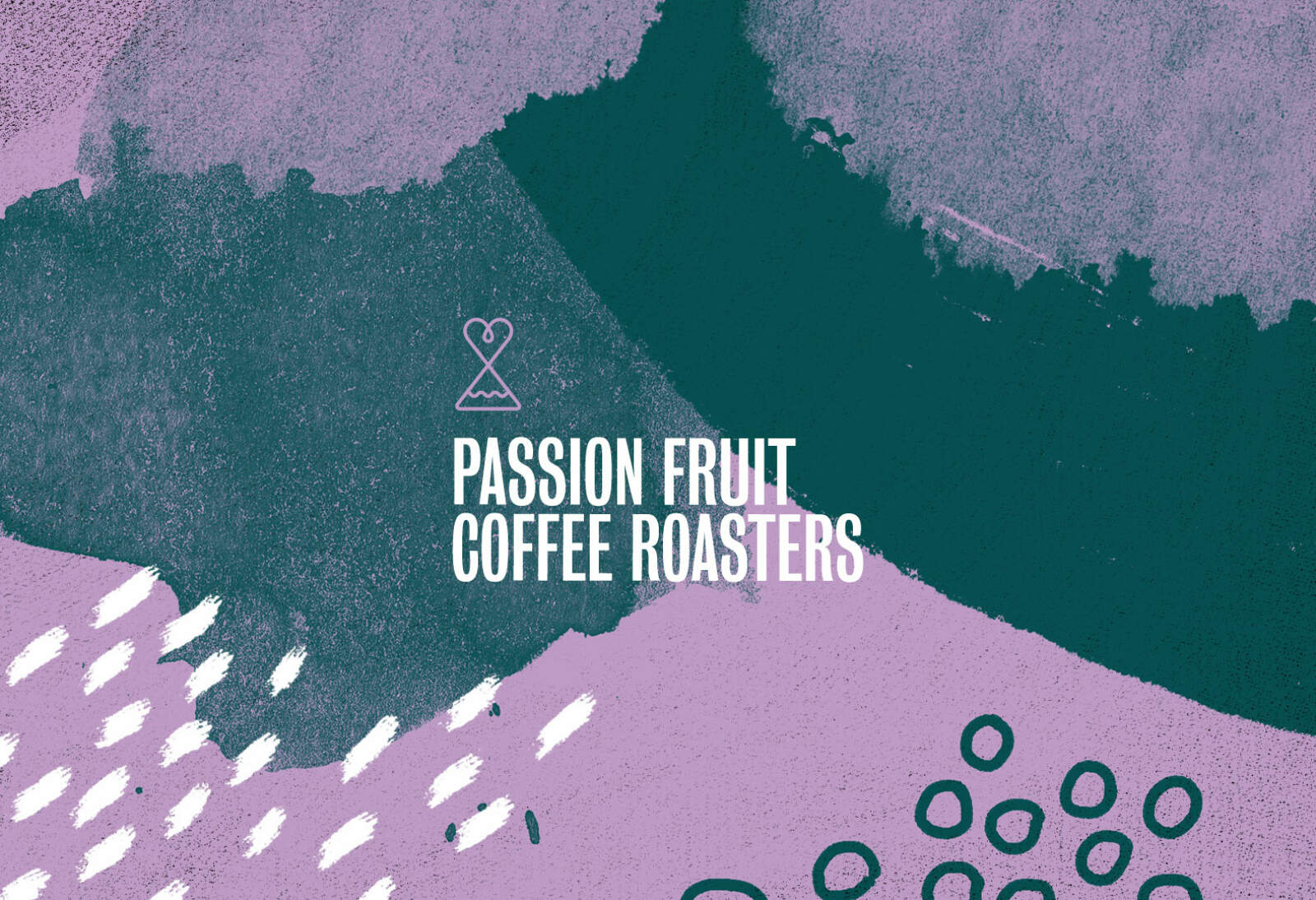 Passion Fruit branding design system components — patterned background, logo marque and type.