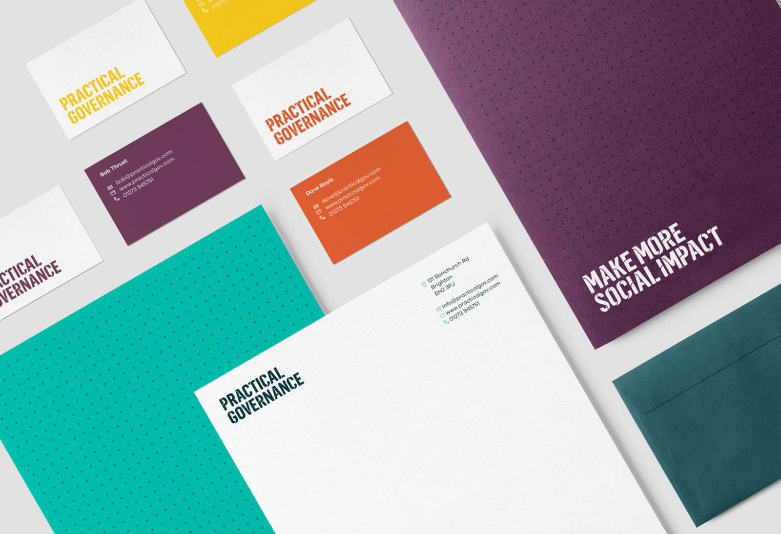 Practical Governance brand applied to their stationery — letterheads, business cards, compliment slips, etc.