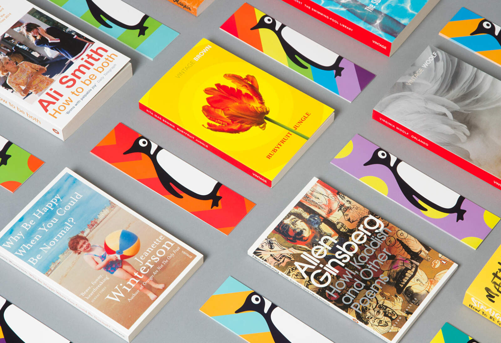 Bookmarks using the brand for Penguin at the Pride festival.