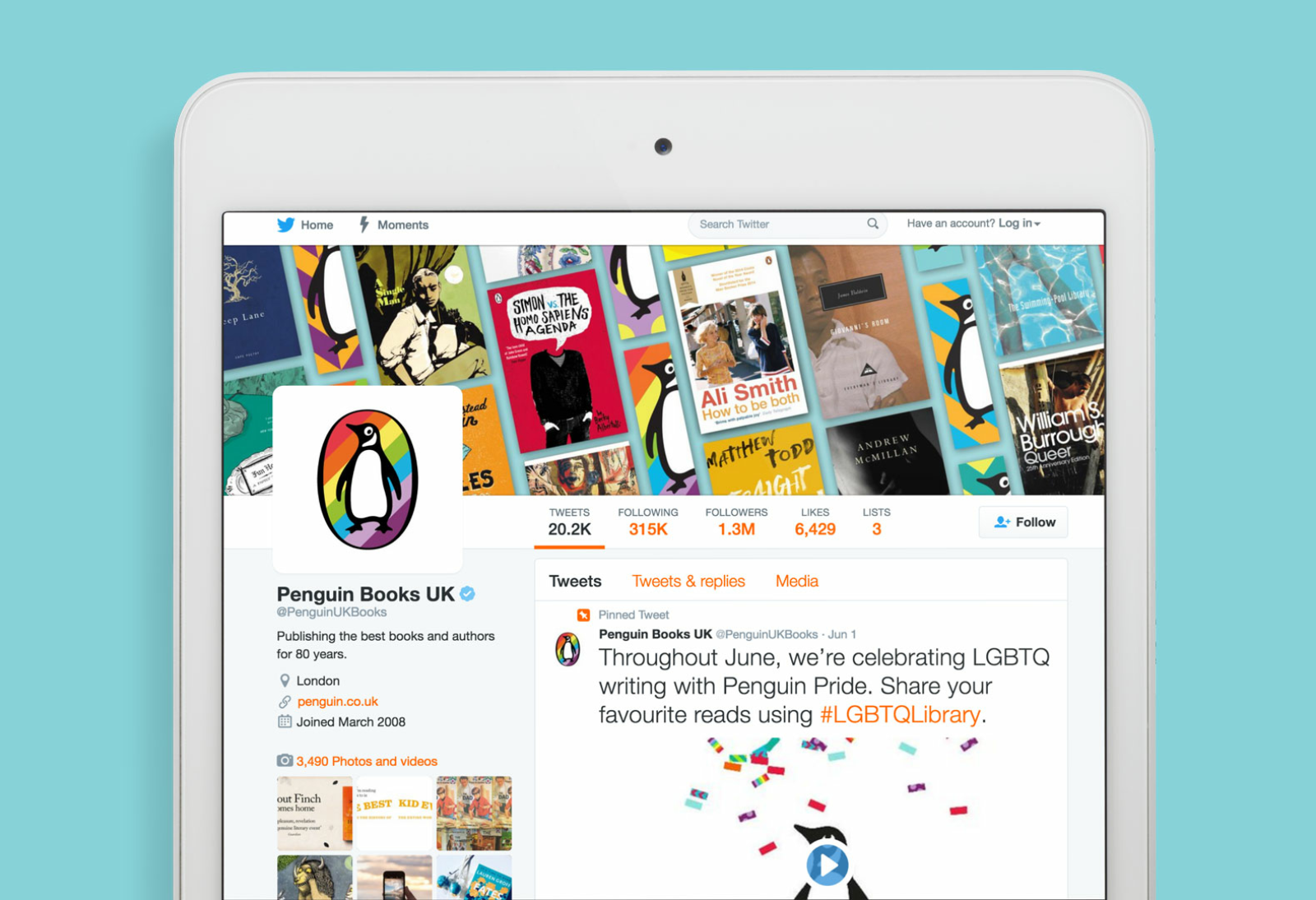 Twitter page social media assets for Penguin Pride — banner background and avatar.