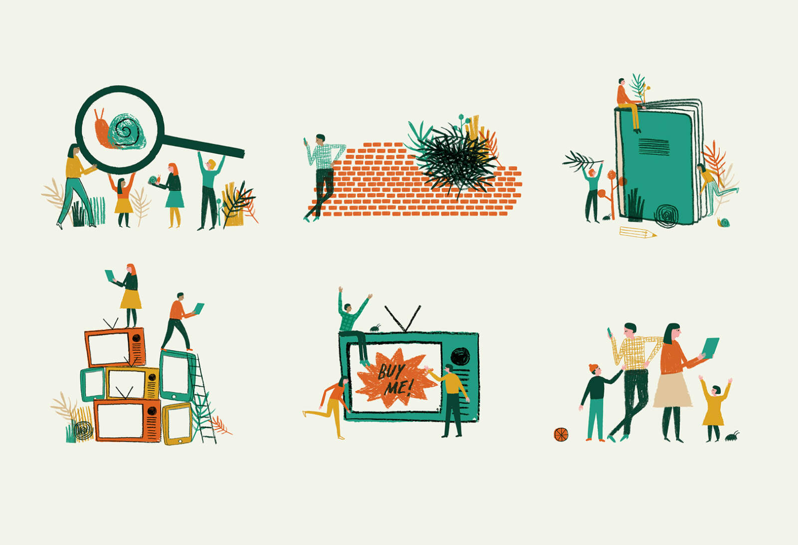 Collection of small illustrations for The Wild Network branding.