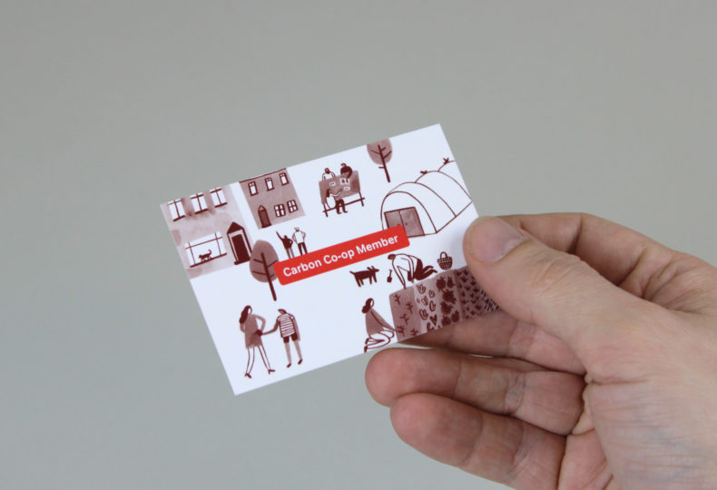 Illustrated business card for Carbon Coop.