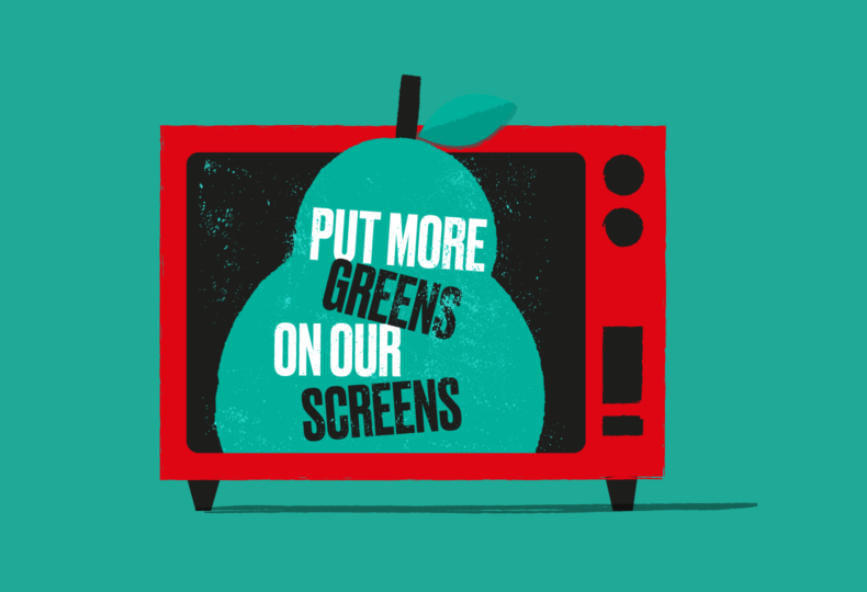 """Put more greens on our screens,"" illustration for social media sharing as part of Jamie Oliver's Food Revolution campaign."