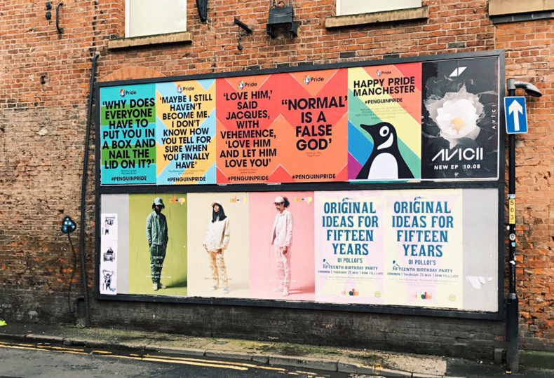 Billboards in Manchester showcasing the Penguin Pride campaign.