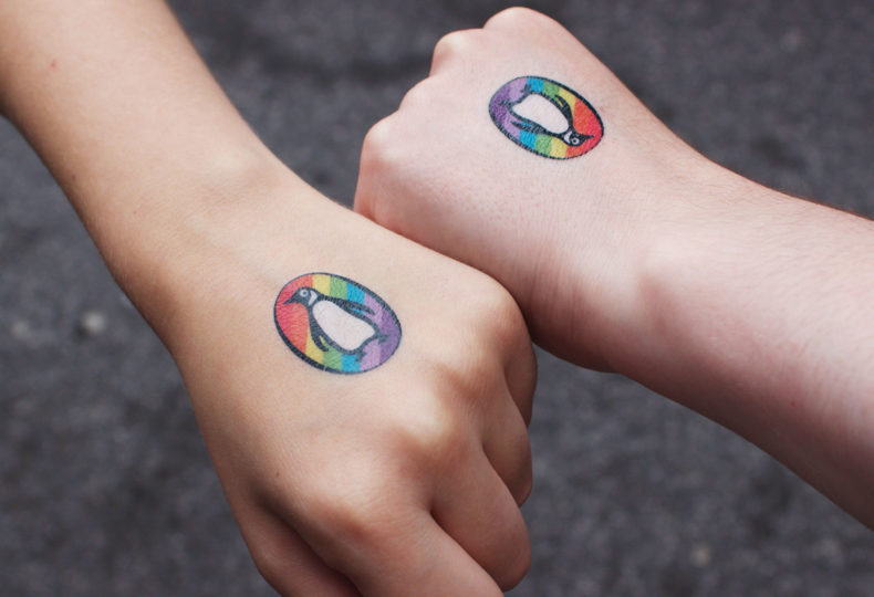 Temporary tattoos for Penguin Pride.