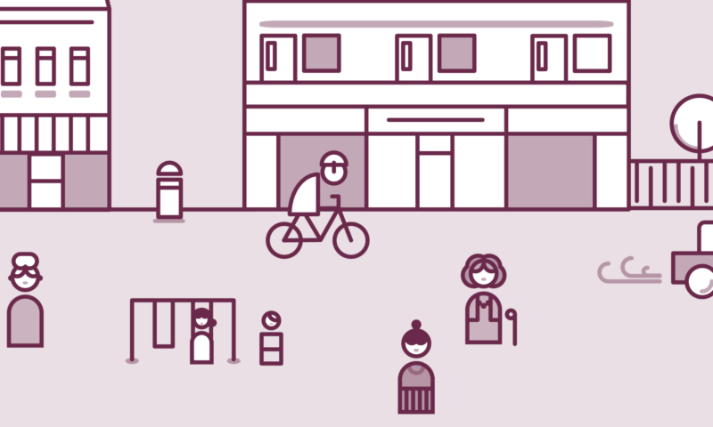 Illustrated street scene for the My Home Energy Planner online tool.