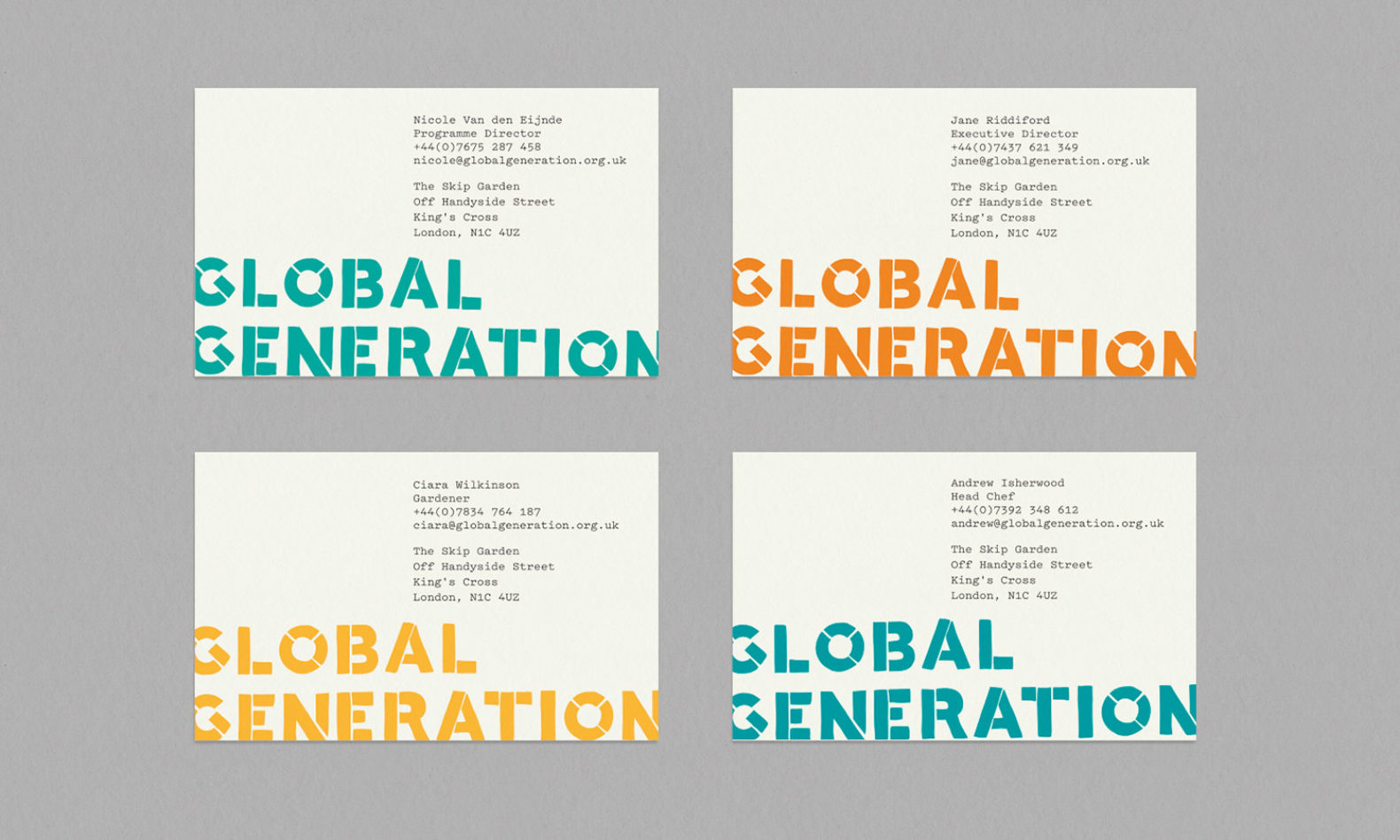 Global Generation branding used on their business cards.