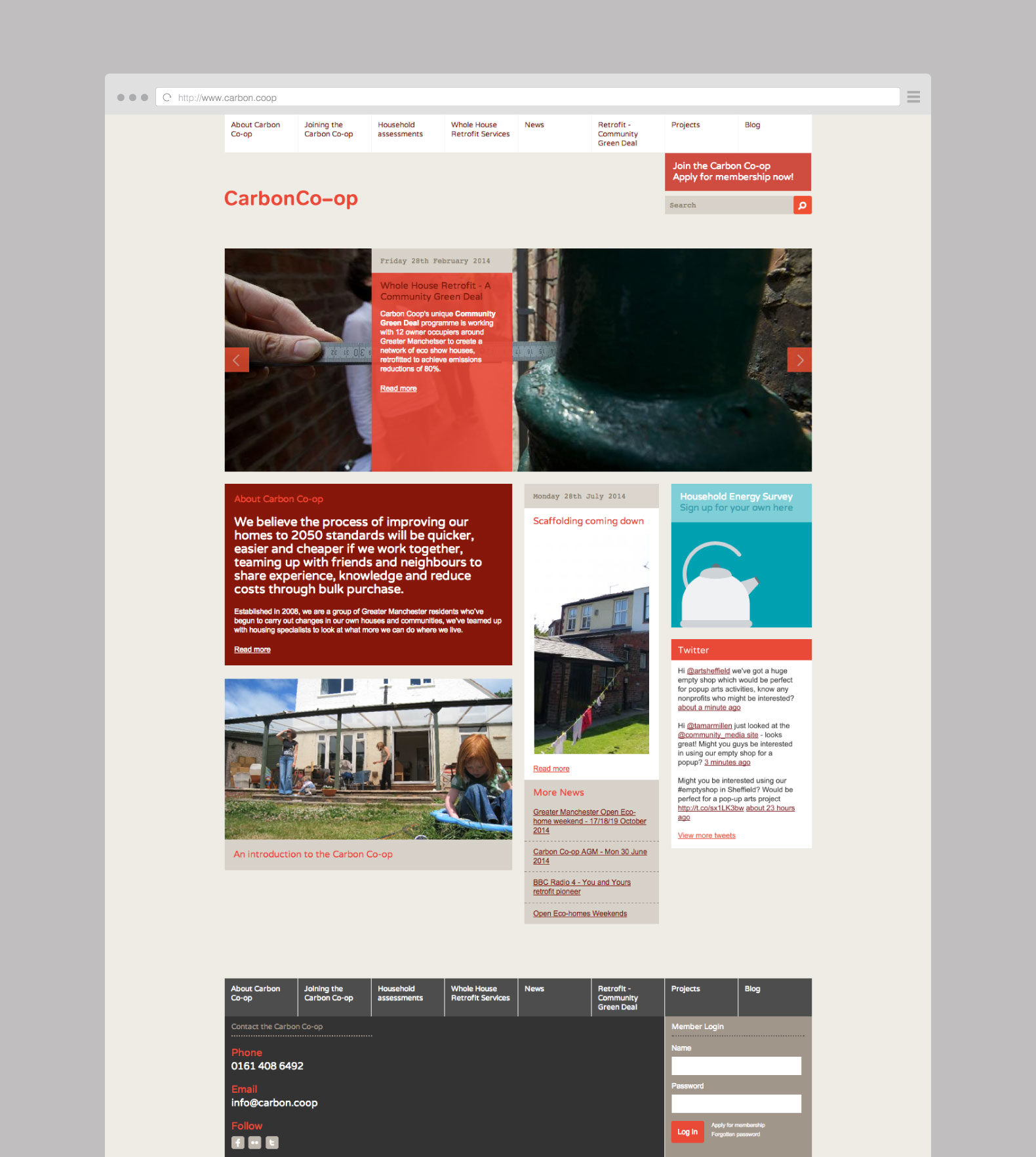 The Carbon Coop website shown in a desktop browser.