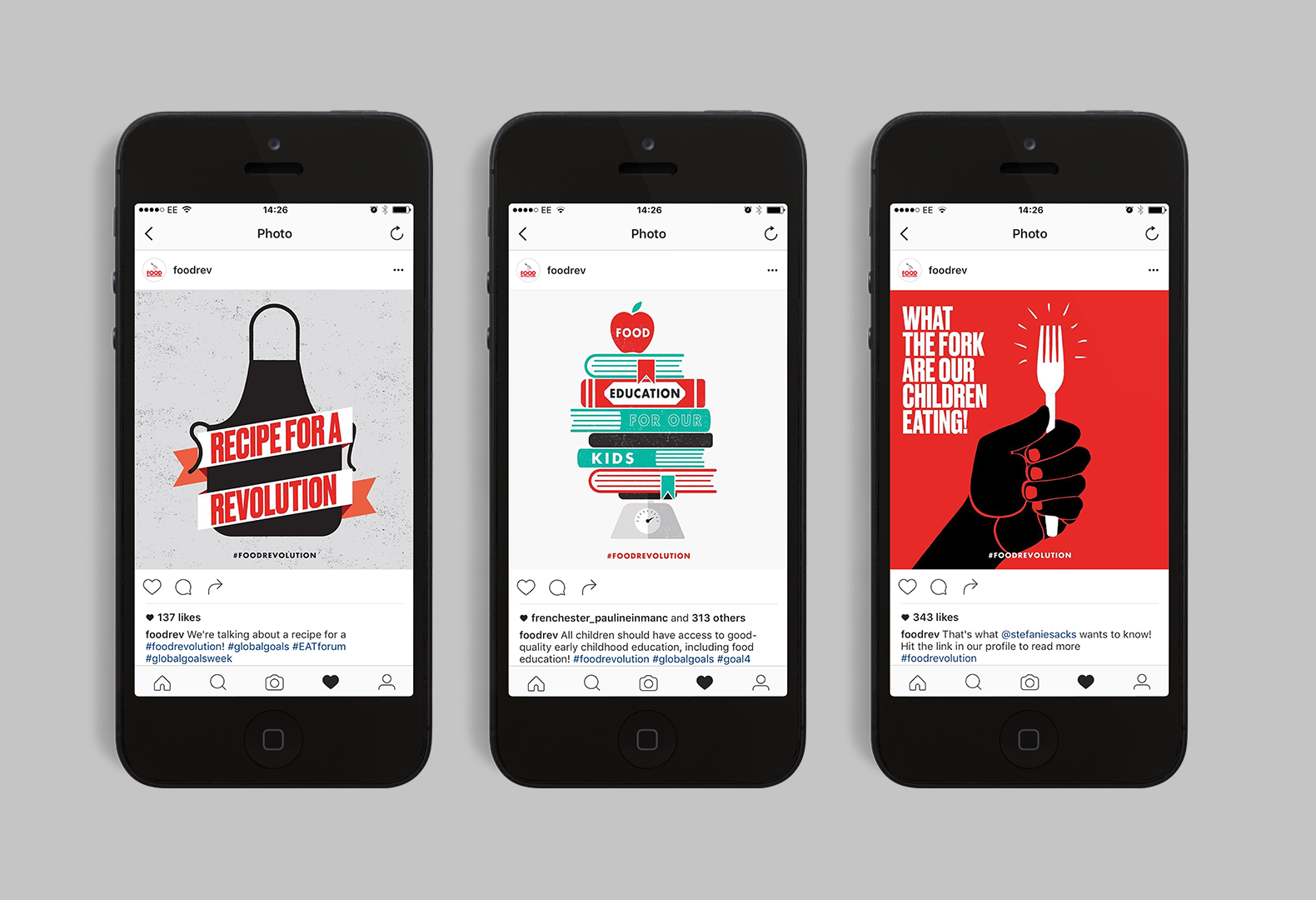 Social media images designed for Jamie Oliver's Food Revolution campaign.