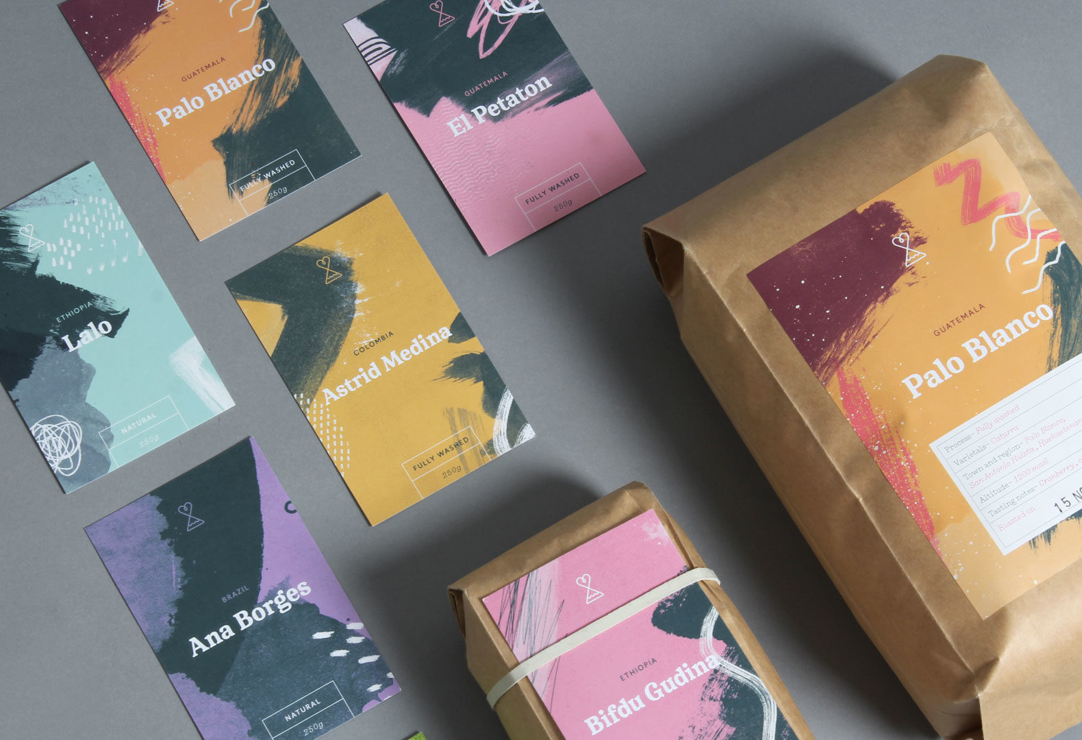 A collection of Passion Fruit labels for use on packs of coffee beans.