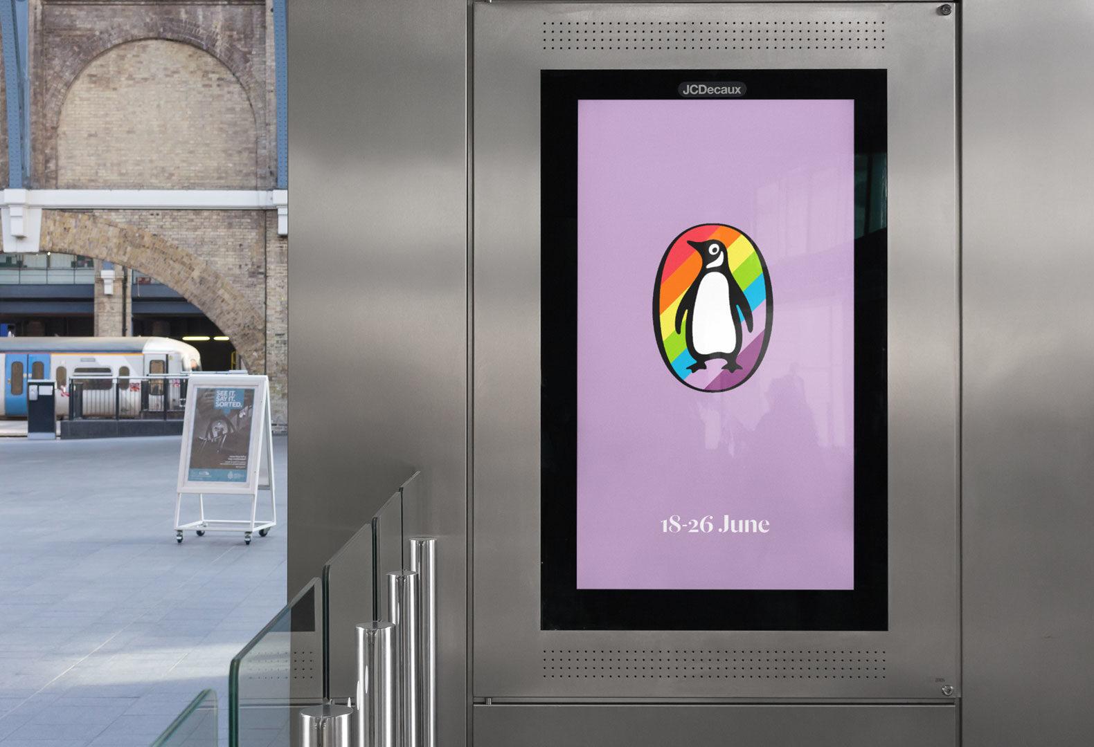 Digital advertising billboard for Penguin Pride.